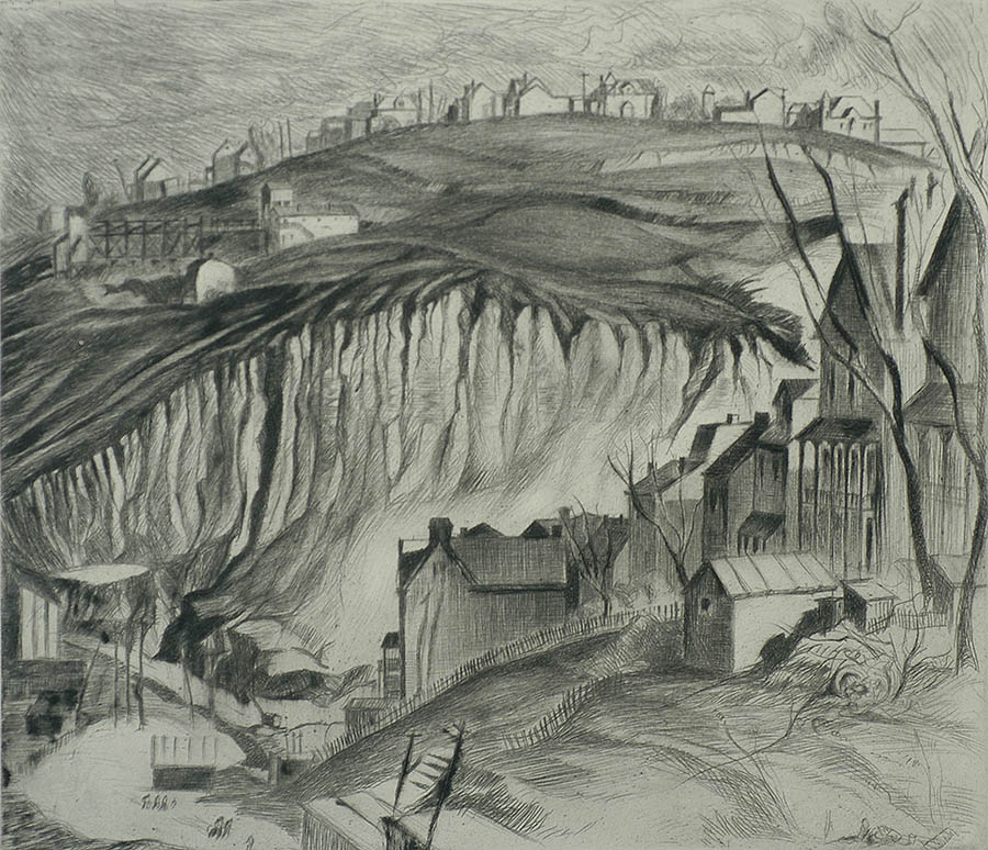 The Crenellated Hill - LOUISE BOYER - drypoint