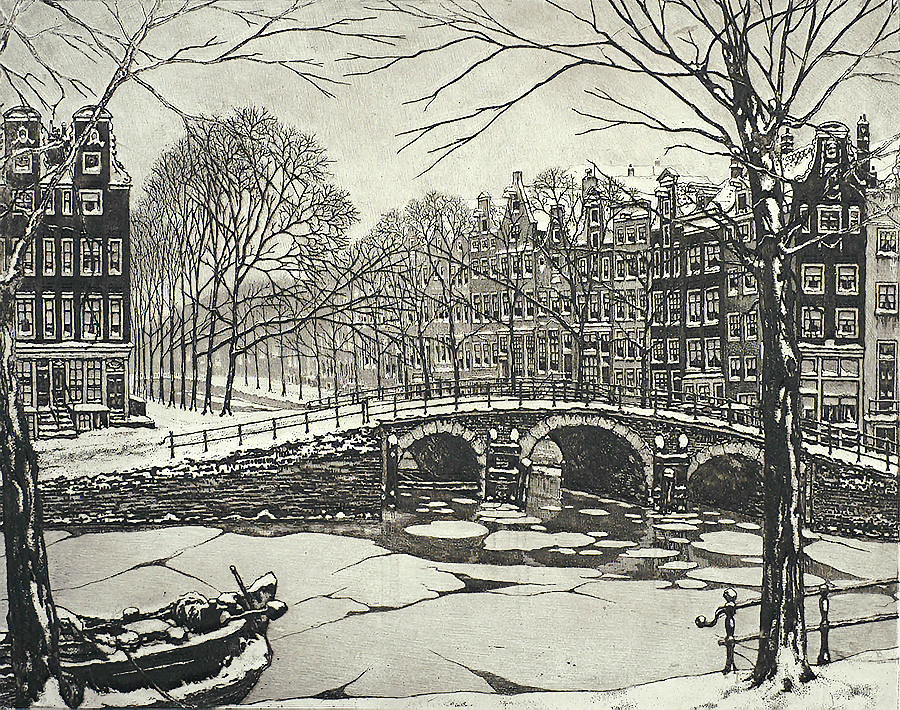 Leidschegracht, Amsterdam - CORNELIS BRANDENBURG - etching and aquatint