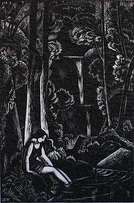 The Waterfall - JOHN BUCKLAND-WRIGHT - wood engraving