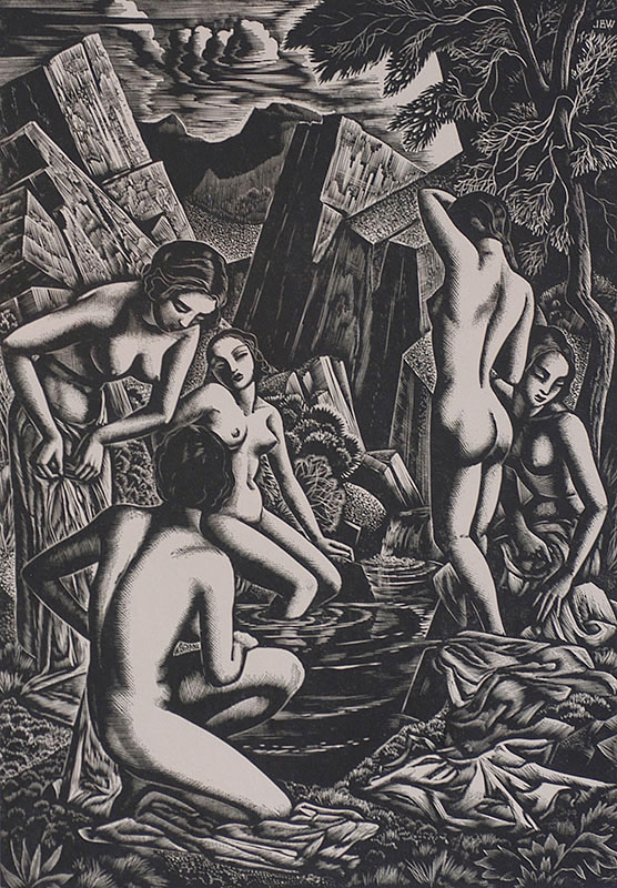 Baigneuses (Bathers) - JOHN BUCKLAND-WRIGHT - wood engraving