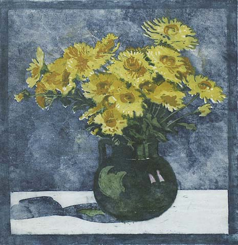 Chrysanthemums - MARIANNE VON BUDDENBROCK - woodcut printed in colors