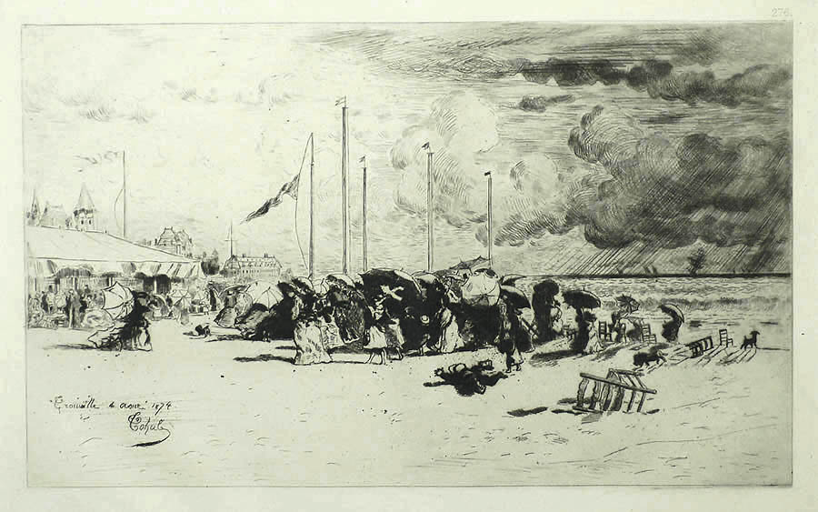A Squall in Trouville (Un Grain a Trouville) - FELIX BUHOT - etching and drypoint