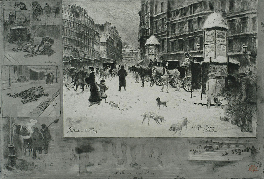 L'Hiver à Paris ou la Neige à Paris (Winter in Paris or Snow in Paris) - FELIX BUHOT - etching, drypoint and aquatint