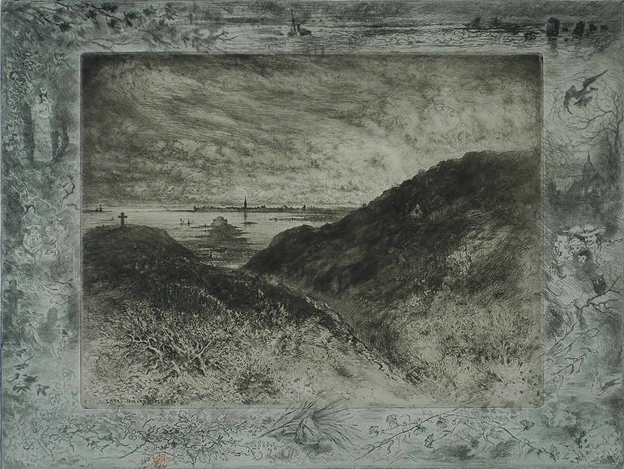 La Falaise-Baie de Saint-Malo - FELIX BUHOT - etching, drypoint,aquatint and roulette printed from two plates