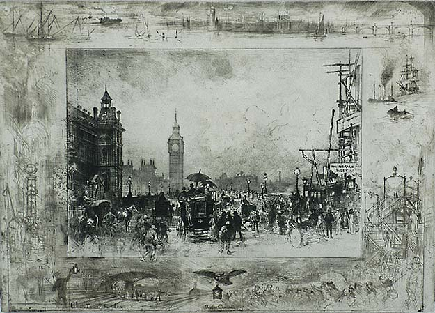 Westminster Bridge (or Westminster Clock Tower) - FELIX BUHOT - etching, drypoint, aquatint and roulette