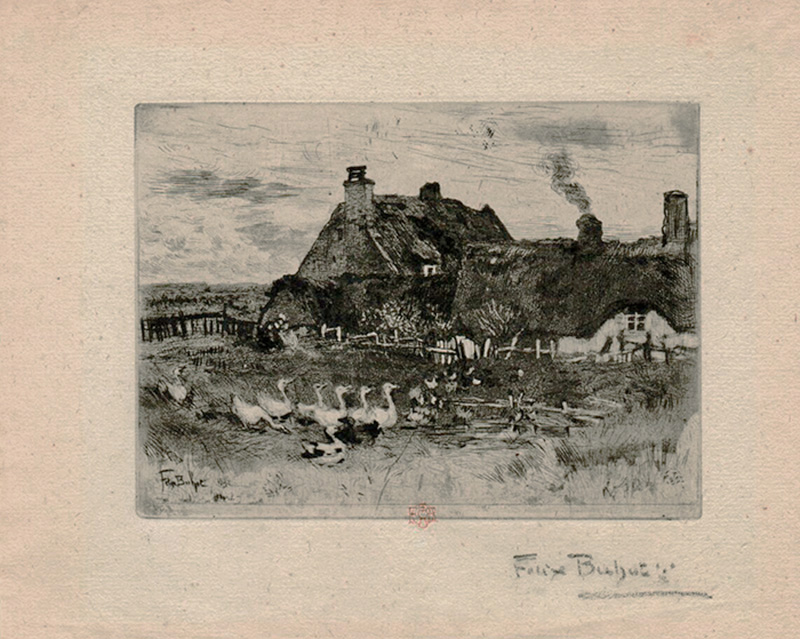 The Little Thatched Cottages (Les Petites Chaumieres) - FELIX BUHOT - etching, drypoint, aquatint, roulette