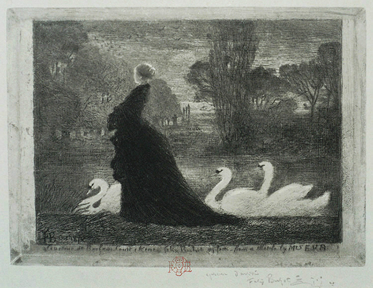 (A Woman with Swans) La Dame aux Cygnes - FELIX BUHOT - drypoint, etching, aquatint and roulette