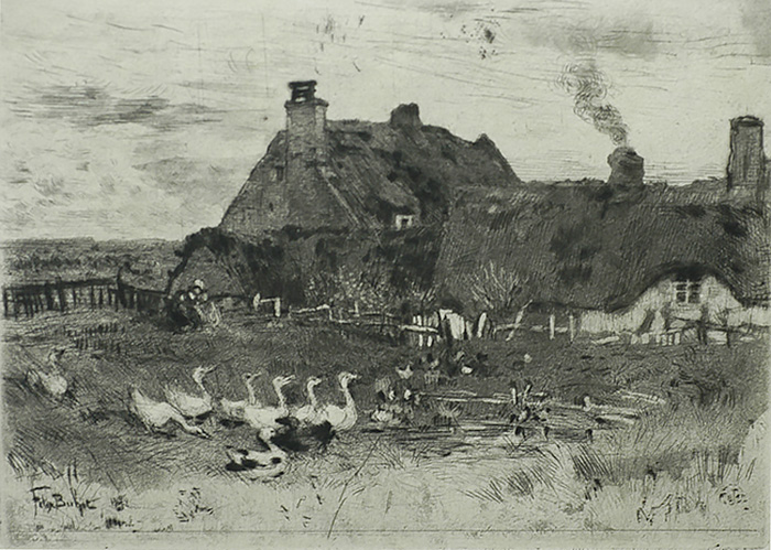 Les Petites Chaumières (The Small Cottages) - FELIX BUHOT - etching, drypoint, aquatint and roulette
