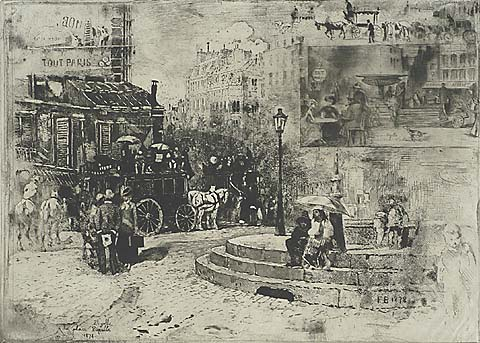 La Place Pigalle in 1878 - FELIX BUHOT - etching, aquatint and drypoint