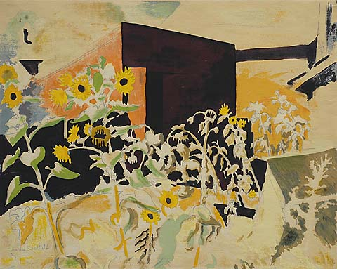 Sunflowers and Red Barn - CHARLES BURCHFIELD (AFTER) - screenprint