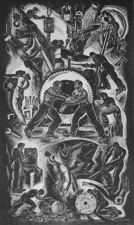 Labor in a Diesel Plant - LETTERIO CALAPAI - wood engraving