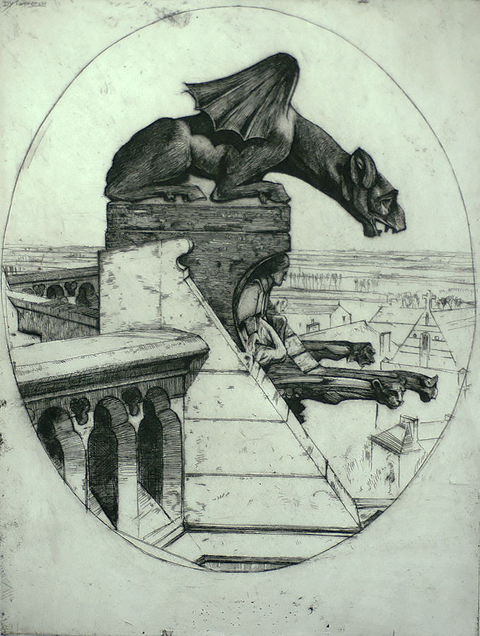 The Chimera of Amiens - DAVID YOUNG CAMERON - etching with drypoint