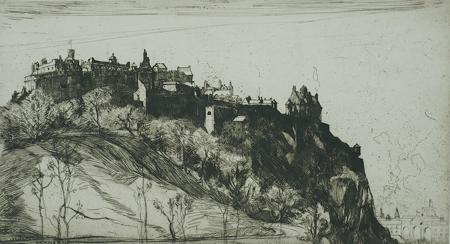 Edinburgh Castle - KATHARINE CAMERON - etching with drypoint
