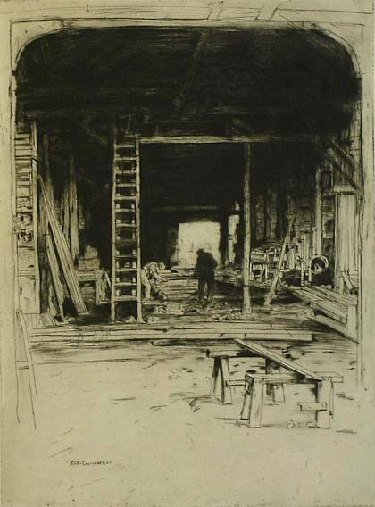 Robert Lee's Workshop - DAVID YOUNG CAMERON - etching and drypoint