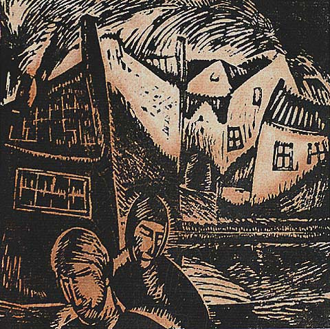 Vieilles Maisons - JAN FRANS CANTRE - woodcut printed in two colors