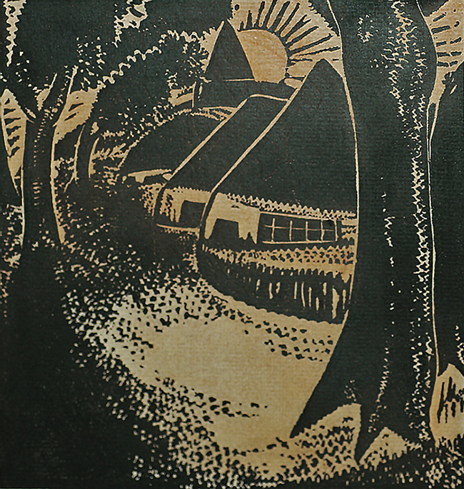 The Village (Le Village) - JAN FRANS CANTRE - woodcut printed in two colors