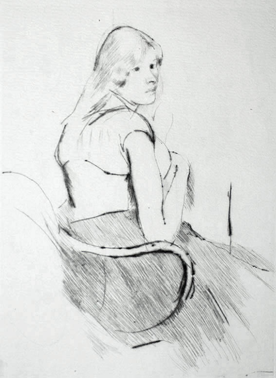 En Déshabillé (also called, Italian Girl) - MARY CASSATT - drypoint