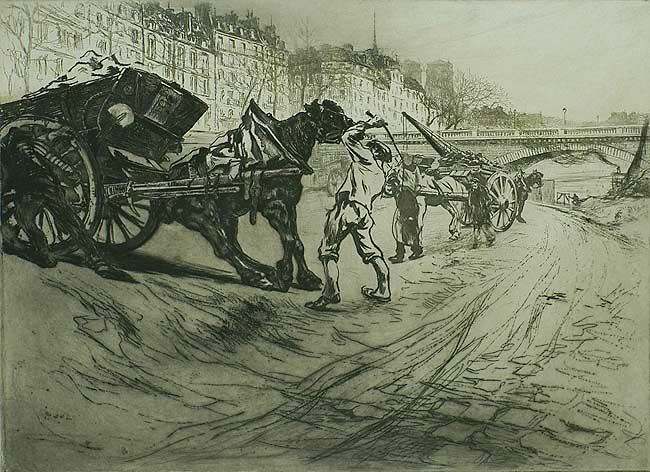 Le Tombereau  (The Tip Cart) - EDGAR CHAHINE - etching, soft-ground etching and drypoint