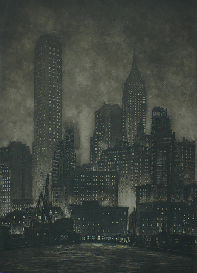 Manhattan Twilight - SAMUEL CHAMBERLAIN - etching with mezzotint