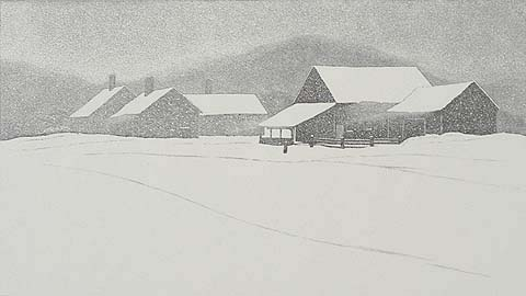 Winter Weather - ASA CHEFFETZ - Wood Engraving