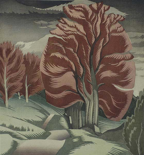 Beeches in Glen Lyon (Scotland) - IAN CHEYNE - woodcut printed in colors