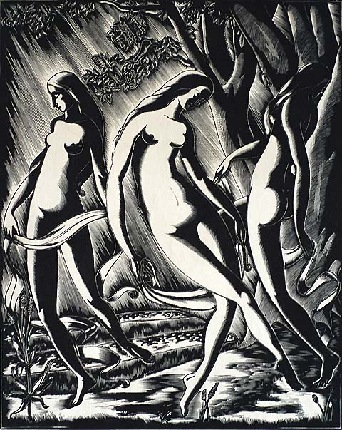 Dancing Women - GERMAINE CLUYTMANS - woodcut