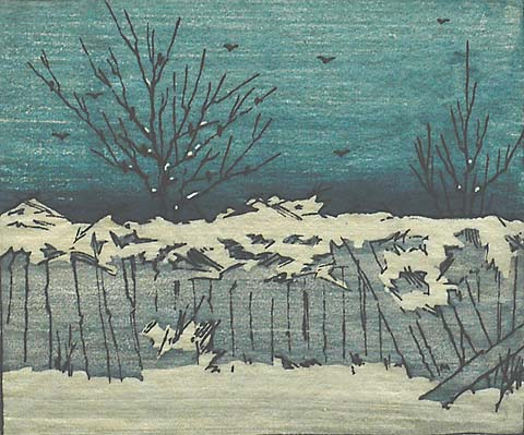 Fence in Winter - ELIZABETH COLWELL - woodcut printed in colors
