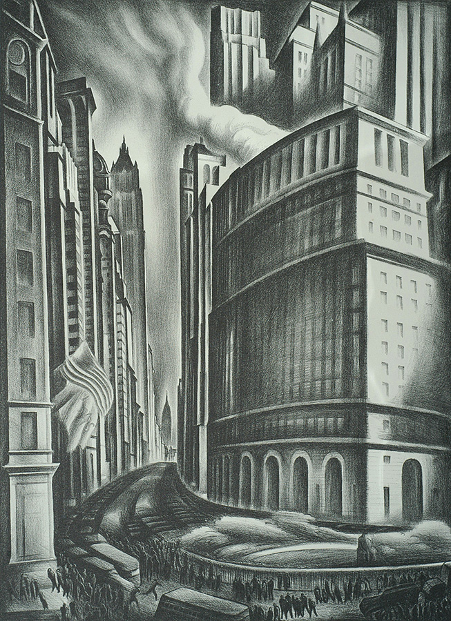 Looking up Broadway - HOWARD COOK - lithograph