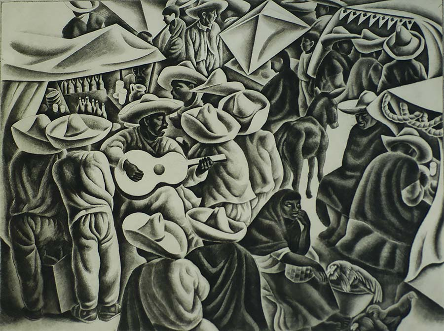 Fiesta (Taxco) - HOWARD COOK - etching