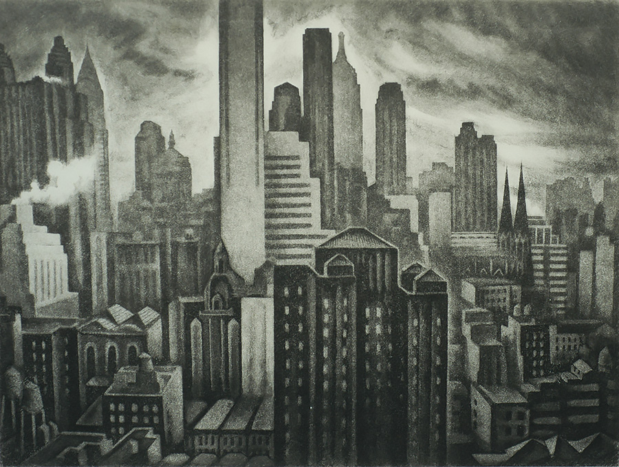 Soaring New York - HOWARD COOK - aquatint and soft-ground etching