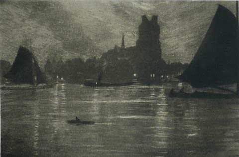 Harbor at Night - OMER COPPENS - aquatint with etching