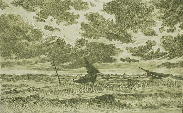 Stormy weather off the coast of Belgium - OMER COPPENS - etching