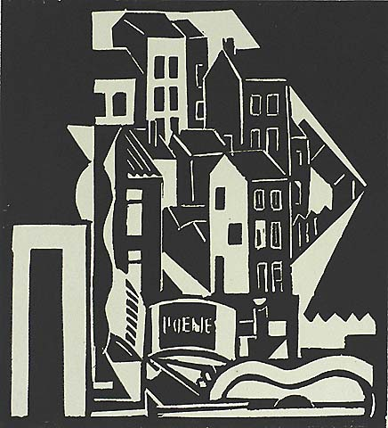 Modernist City View - CHARLES COUNHAYE - woodcut