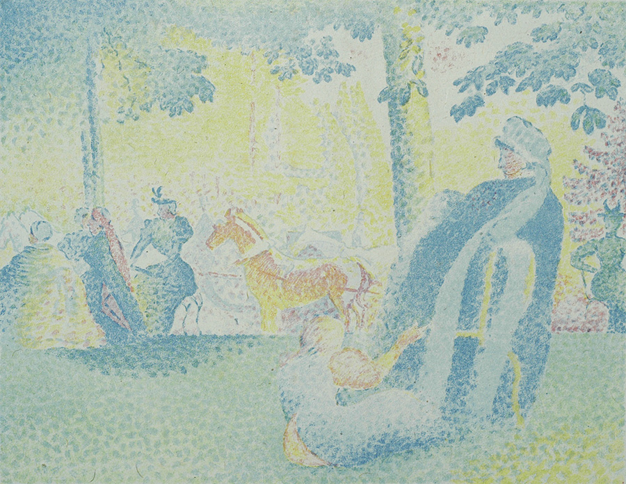 Aux Champs-Élysées - HENRI-EDMOND CROSS - lithograph printed in colors