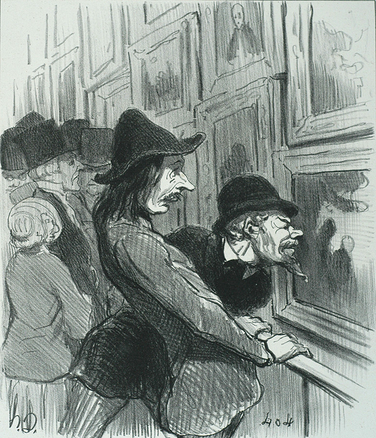 Artists in the Process of viewing the Work of a Rival (Artistes en train d'examiner le tableau d'un rival) - HONORE DAUMIER - lithograph