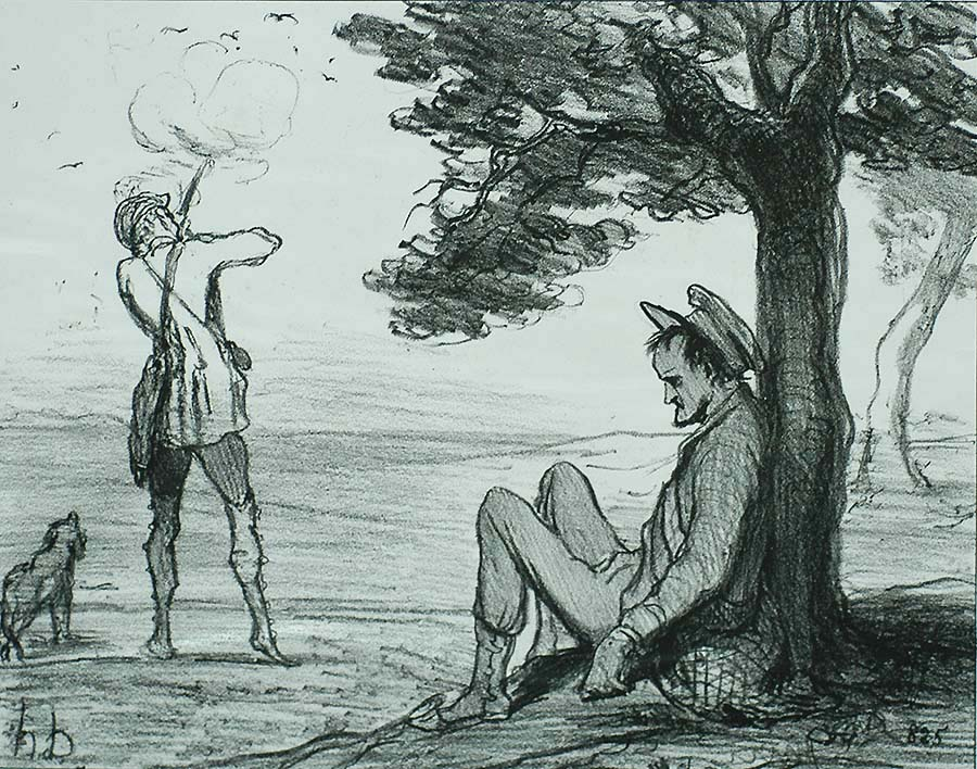 Opening of Hunting Season during a Heat Wave (Ouverture de la Chasse pendant la Canicule) - HONORE DAUMIER - lithograph