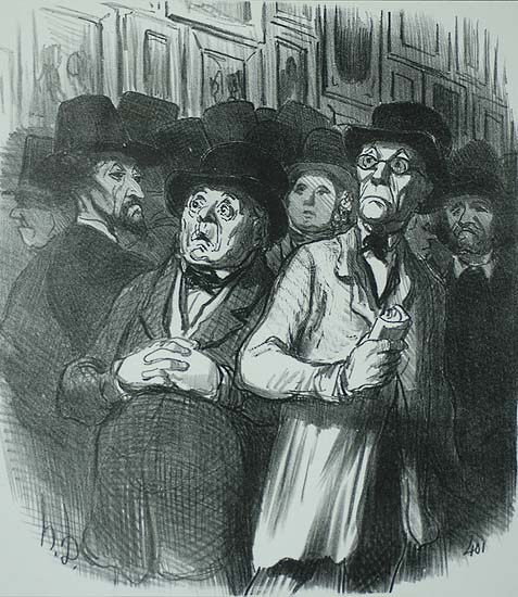 Lovers of classical art are even more convinced that the cause of the Arts in France is doomed (Amateurs classiques de plus en plus...) - HONORE DAUMIER - lithograph