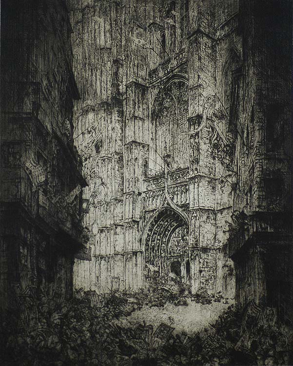 Antwerp Cathedral (La Cathedrale d'Anvers) - JULES DE BRUYCKER - etching