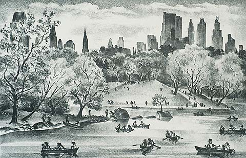 Central Park Lake - ADOLF DEHN - lithograph