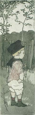 En Sentinelle - EUGENE DELATRE - etching and aquatint printed in colors