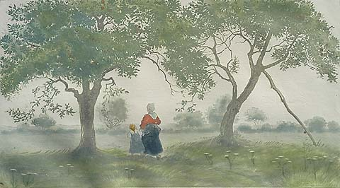Les Pommiers (The Apple Trees) - EUGENE DELATRE - etching and aquatint printed in colors
