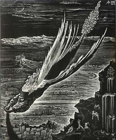Book of Revelation, VIII (10-11), Absinth Angel - VICTOR DELHEZ - wood engraving