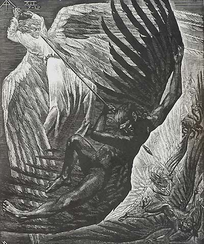 Book of Revelation, XII (7-12), War in Heaven - VICTOR DELHEZ - wood engraving