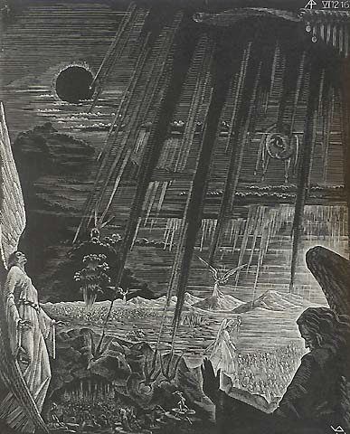 Book of Revelation, VI (12-16), Cosmic Darkness - VICTOR DELHEZ - wood engraving