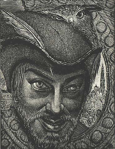 Portrait of the Artist as Ulenspiegel - VICTOR DELHEZ - wood engraving