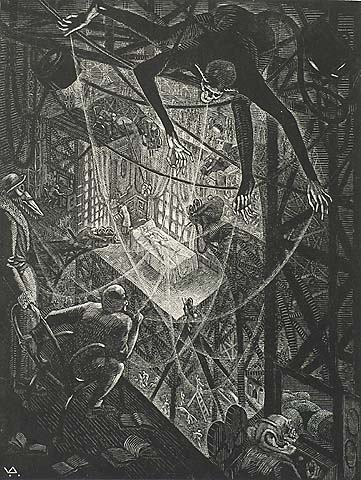 Dance of Death XXVIII, The Seventh Veil - VICTOR DELHEZ - wood engraving