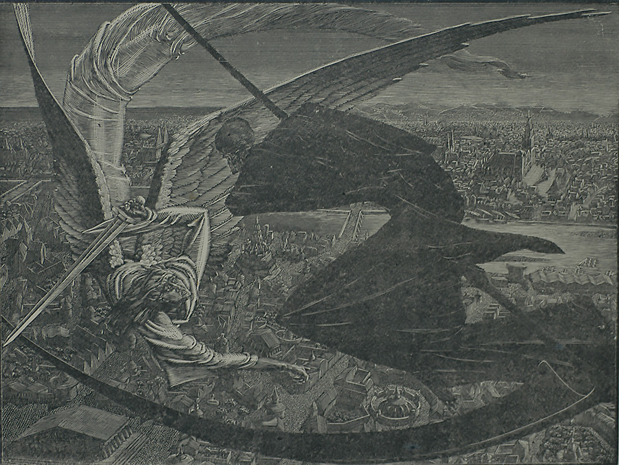 The Idle City - VICTOR DELHEZ - wood engraving