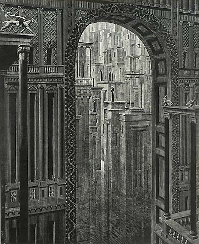 Architecture and Nostalgia, #1 - VICTOR DELHEZ - wood engraving