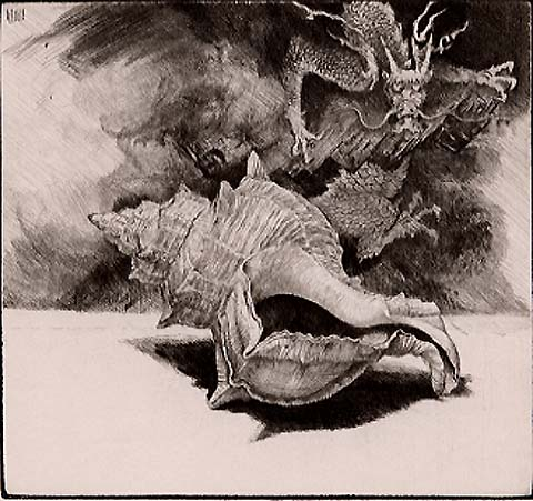 Purpura with Dragon - JAKOB DEMUS - diamond drypoint