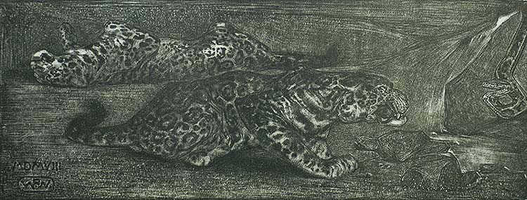 Two Leopards and a Snake - HERMAN. B. DIEPERINK - lithograph